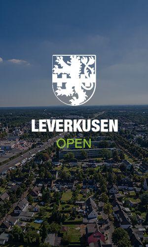 Wappen Leverkusen mit Stadt im Hintergrund